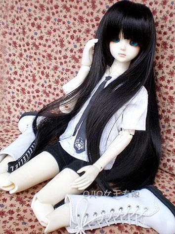 BJD Wig Long Straight Black Hair for MSD Ball Jointed Doll