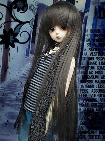 BJD Wig Long Straight Gray Hair for MSD Ball Jointed Doll