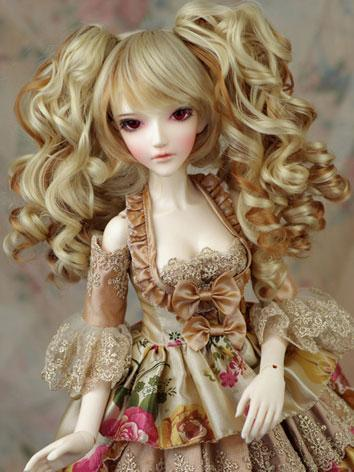 BJD Wig Light Golden Perm f...