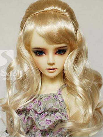 BJD Wig Light Gold Curly Wi...