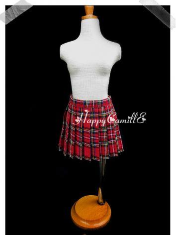 BJD Clothes Red Plaid Skirt...