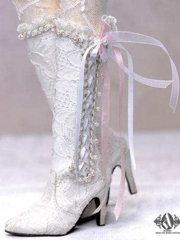 【Limited Edition】Bjd Shoes White Fairy Lace High Boots SH314113 for SD Size Ball-jointed Doll
