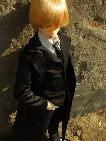 BJD Clothes Boy Black Suit with Long coat for MSD/SD/SD17/70cm Size Ball-jointed Doll