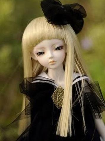 BJD Clothes Cute Girl White Navy Dress for MSD/SD Size Ball-jointed Doll