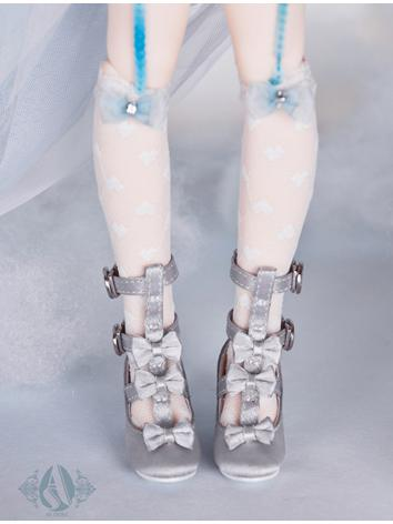 【Limited Edition】Bjd Shoes 1/4 silver & grey loli shoes SH41026 for MSD Size Ball-jointed Doll