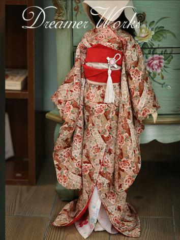 BJD Clothes Kimono Red Peony for MSD Ball-jointed Doll