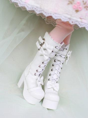 Bjd Shoes HIgh-heel White/Black Lolita High Boots for MSD Size Ball-jointed Doll