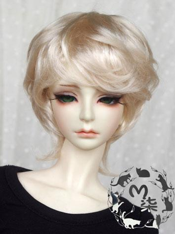 BJD Wig Light Gold Short Curly Wig for 70cm/SD/MSD/YSD Size Ball-jointed Doll