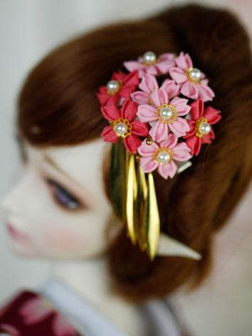 BJD Pink Flower Hairpin Hairpiece[Luoying]for SD/70cm Ball-jointed doll