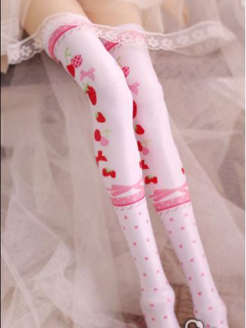 Bjd Socks Sweet Girls Pink Strawberry High Stockings for SD/MSD Ball-jointed Doll