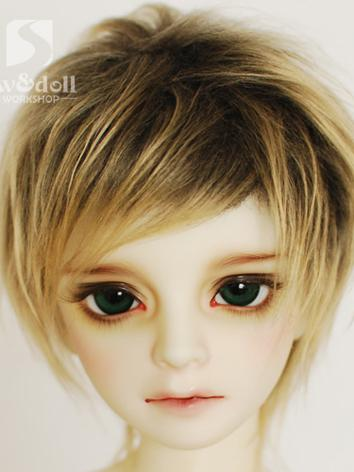 BJD Wool Wig Black&Gold Short Wig for SD/MSD/YSD Ball Jointed Doll