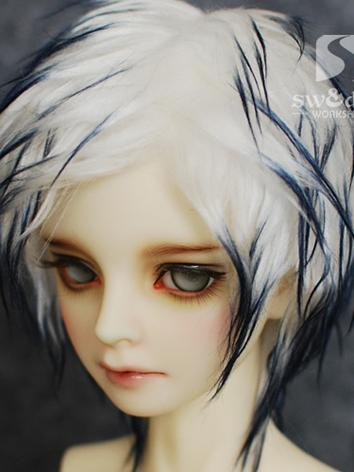 BJD Wool Wig White*Blue Sho...