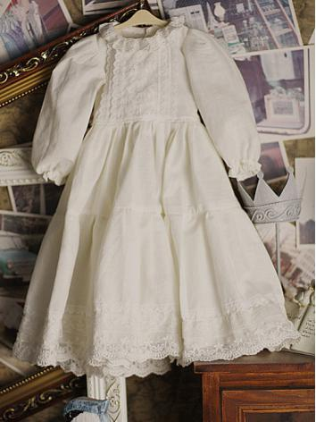 BJD Clothes White Dress for 75cm/SD/MSD/YSD Ball-jointed Doll