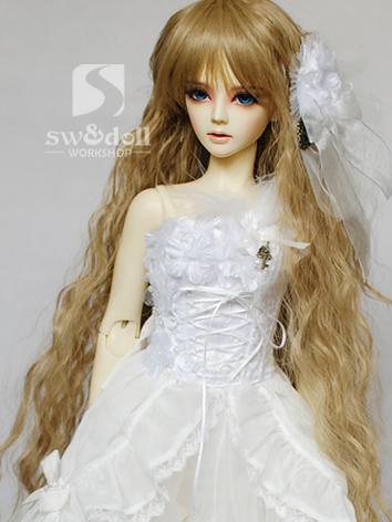 BJD Wig Girl Gold/Gray Long...