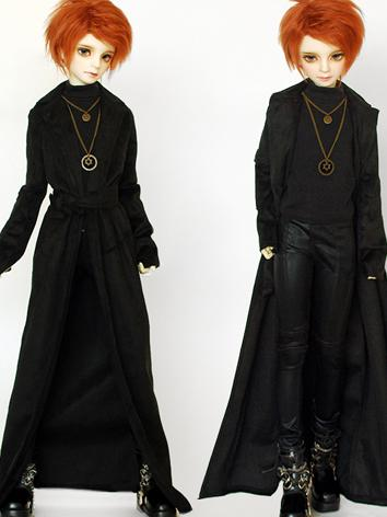 BJD Clothes Boy Black Long Coat for SD/MSD/70cm Ball-jointed Doll