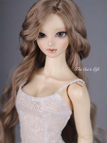 BJD Girl Flaxen/Brown Curly...