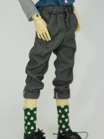 BJD Clothes Male/Female Gray Stripe Ninth Pants for MSD Ball-jointed Doll