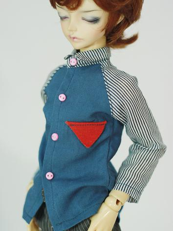 BJD Clothes Male/Female Blue Shirt for MSD Ball-jointed Doll