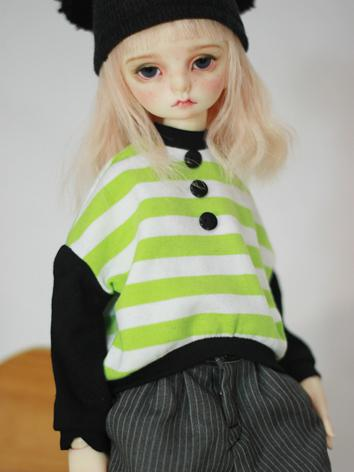 BJD Clothes Male/Female Green Stripe T-shirt for MSD Ball-jointed Doll