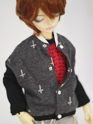 BJD Clothes Male/Female Gray Baseball Coat for MSD Ball-jointed Doll