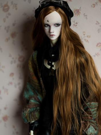 BJD Male/Female Brown Long Curly Hair Wig for SD Size Ball-jointed Doll