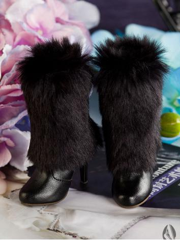 【Limited Edition】Bjd Shoes 1/3 Girl Black Fluff High Boots SH315112 for SD Size Ball-jointed Doll