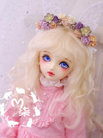 BJD Wig Light Gold Curly Hair Wig for YSD/MSD Size Ball-jointed Doll