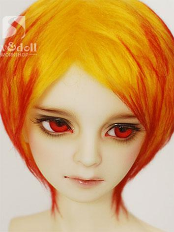 BJD Wig Yellow&Red Hair Woo...