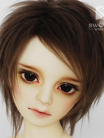 BJD Wig Chocolate Hair Wool Wig for SD/MSD/YO-SD Size Ball Jointed Doll