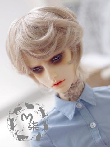 BJD Wig Flaxen Short Curly Hair Wig for YSD/MSD Size Ball-jointed Doll