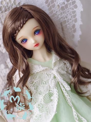 BJD Wig Dark Brown/Light Golden/Light Brown/Milk Long Curly Hair Wig for YSD/MSD/SD Size Ball-jointed Doll