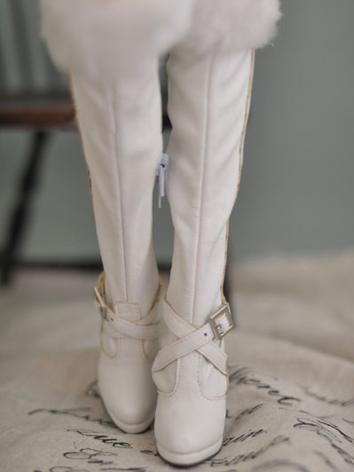 Bjd Girl/Female White Over-knee Boots High-heel Shoes for SD16 Ball-jointed Doll