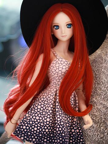 BJD Female Red Long Hair Wi...