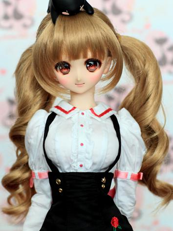 BJD Girl Flaxen Curly Wig C...