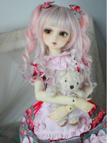 BJD Pink Curly Wig for SD/MSD/YSD Size Ball-jointed Doll