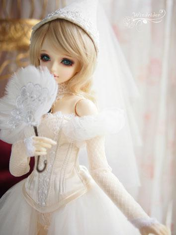 BJD Clothes Girl White Retro Dress for SD Ball-jointed Doll
