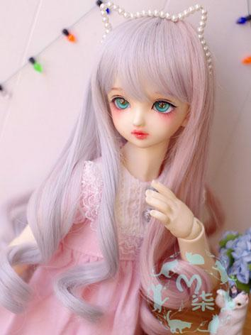 BJD Wig Gray&Pink Curly Hair Wig for YOSD/MSD/SD Size Ball-jointed Doll