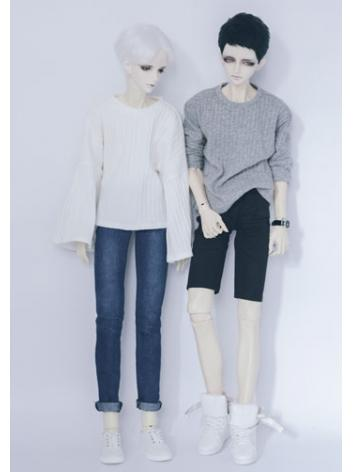 BJD Clothes White/Gray Sweater A180 for MSD/SD/70cm Size Ball-jointed Doll