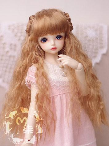 BJD Wig Dark Gold Curly Hai...