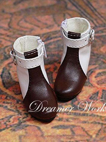 Bjd Female White&Brown Short Boots for SD/MSD Ball-jointed Doll