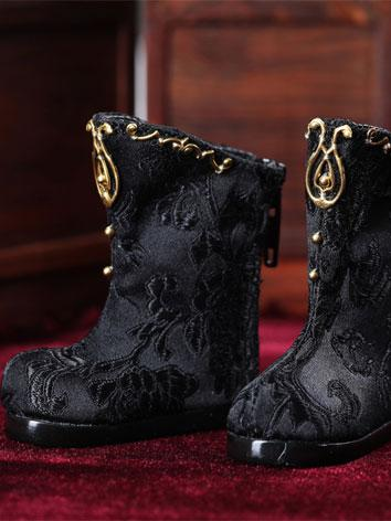 【Limited Edition】Bjd Shoes 1/6 Baby Gold satin black boots SH617011 for YO-SD Size Ball-jointed Doll