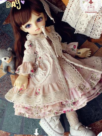 BJD Clothes Pink Printed Dr...