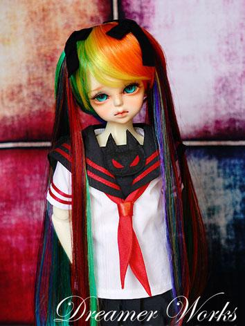 BJD Wig 1/4 Female Mixed Color Long Wig for MSD Size Ball-jointed Doll