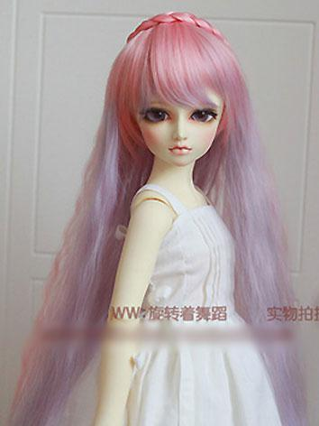 BJD Girl Pink/Green Curly Hair 1/3 1/4 Wig for SD/MSD Size Ball-jointed Doll