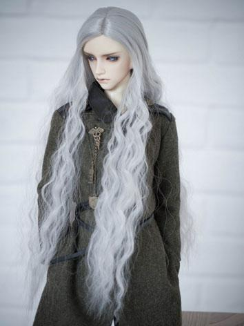 BJD Male/Female Silver White Long Curly Hair 1/3 Wig for SD Size Ball-jointed Doll