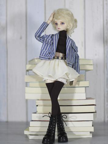 1/4 Clothes Girl Blue Stripe Jacket+Skirt Suit for MSD Ball-jointed Doll