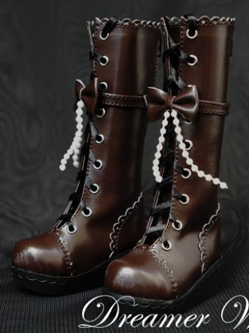 1/3 1/4 Shoes Female Dark Brown Boots for SD/MSD Ball-jointed Doll
