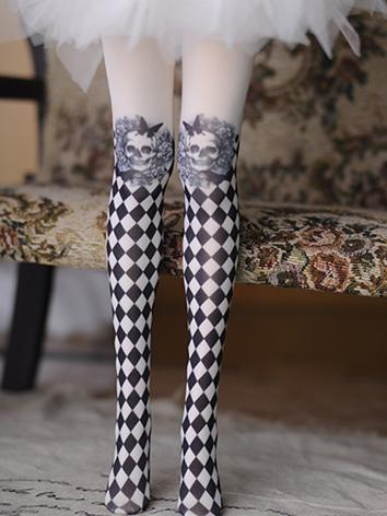 1/3 Socks Gird Printed High Stockings for SD Ball-jointed Doll