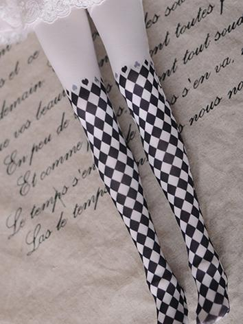 1/3 1/4 Socks Lady Gird Printed High Stockings for SD/MSD Ball-jointed Doll