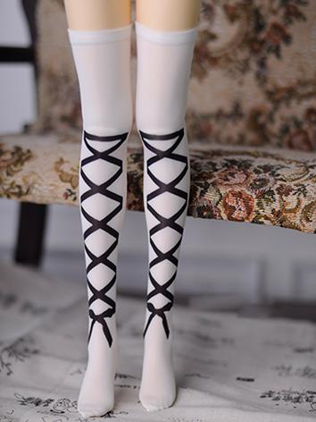 1/3 1/4 Socks Lady Printed High Stockings for SD/MSD Ball-jointed Doll